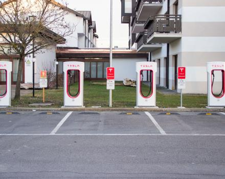 Tesla charging station outside the hotel