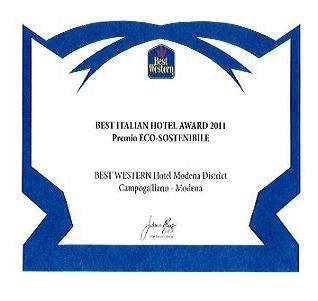 in 2011 the Best Western Hotel Modena received the award for environmental sustainability
